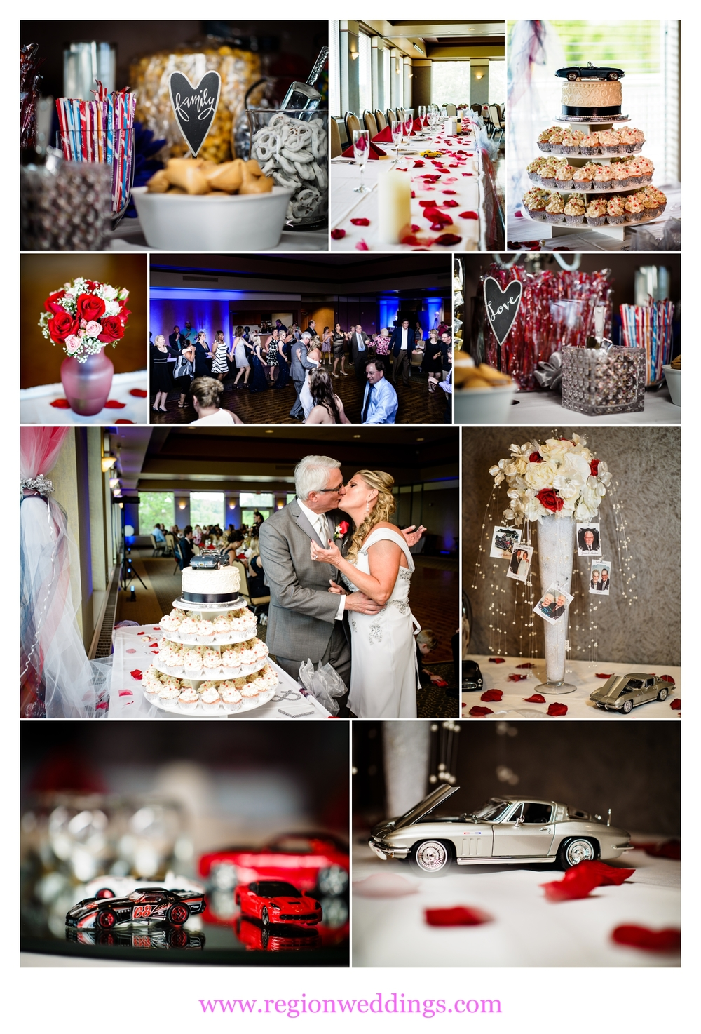 The ballroom at Sand Creek is decorated with classic car wedding decor.