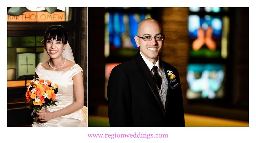 Bride and groom photos at St. Maria Goretti Church.