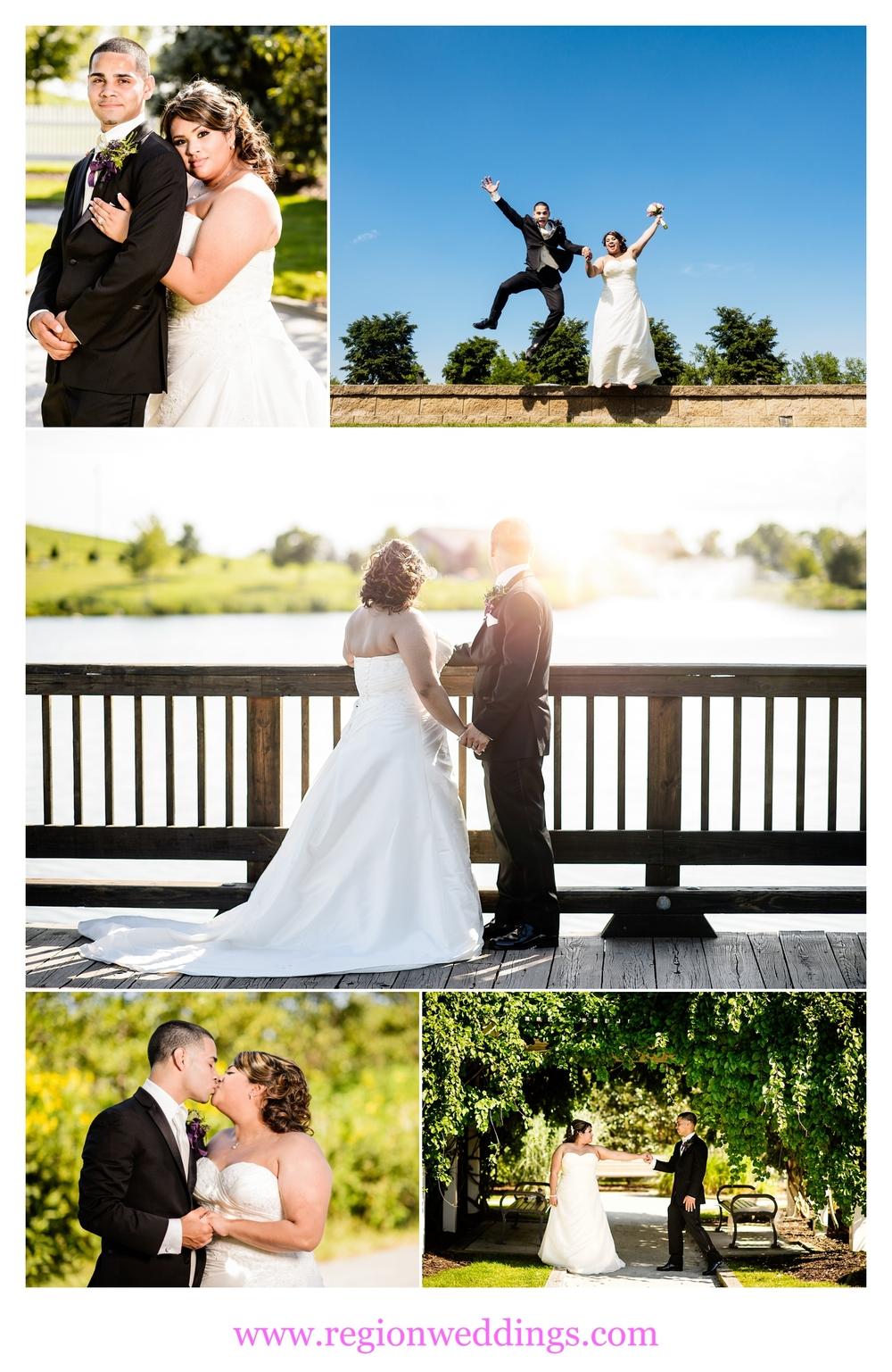 Summer wedding photos at Centennial Park in Munster, Indiana.