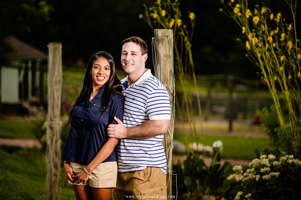 Engagement photo at the nature retreat of Taltree Arboretum.