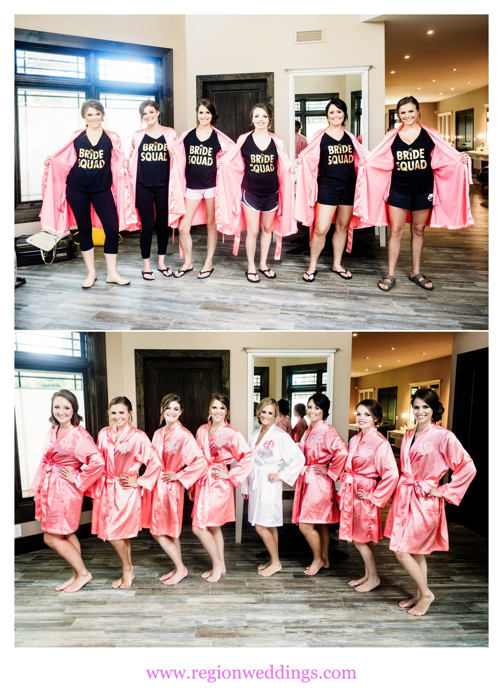 Bride and her bridesmaids show off their monogrammed salmon colored robes.