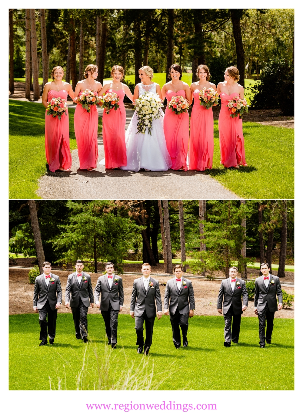 Bridesmaids and groomsmen take a walk at Sandy Pines Golf Course.