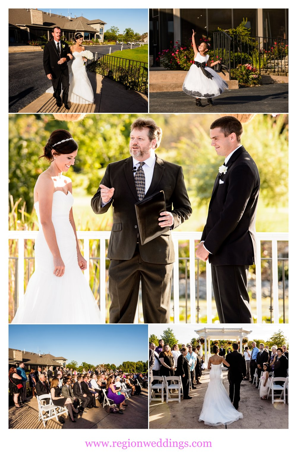 An outdoor wedding ceremony under the gazebo at White Hawk Country Club.