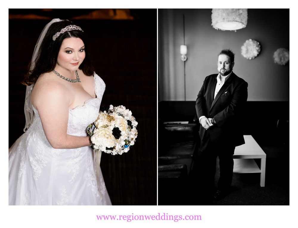 Portraits of the bride and groom at The Allure in Laporte, Indiana.