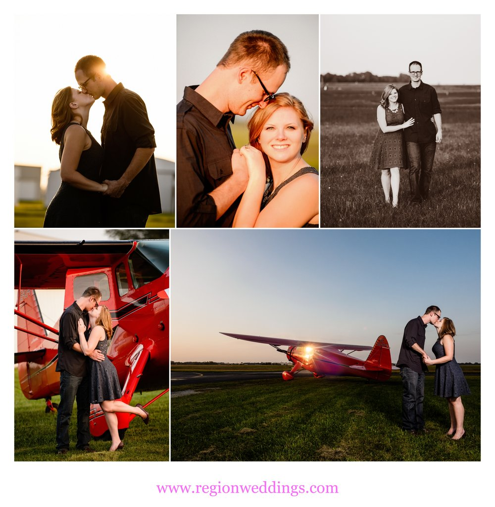 Romantic engagement photos at Porter County Municipal Airport in Valparaiso, Indiana.