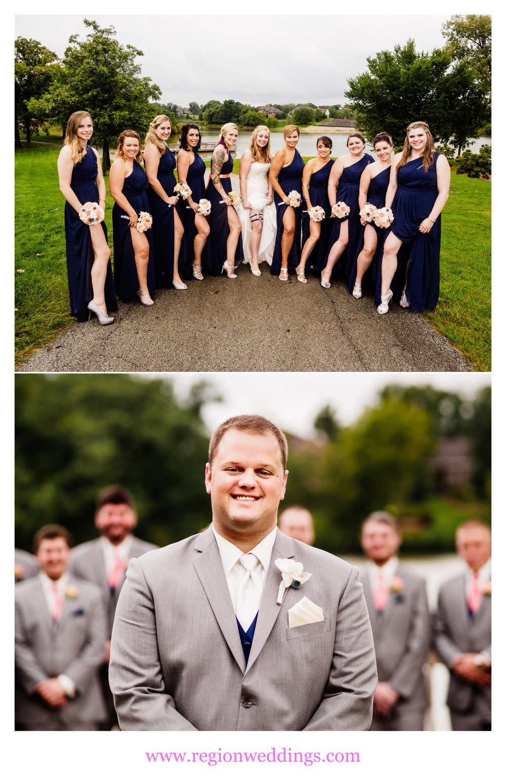Bridesmaids and groomsmen photos.