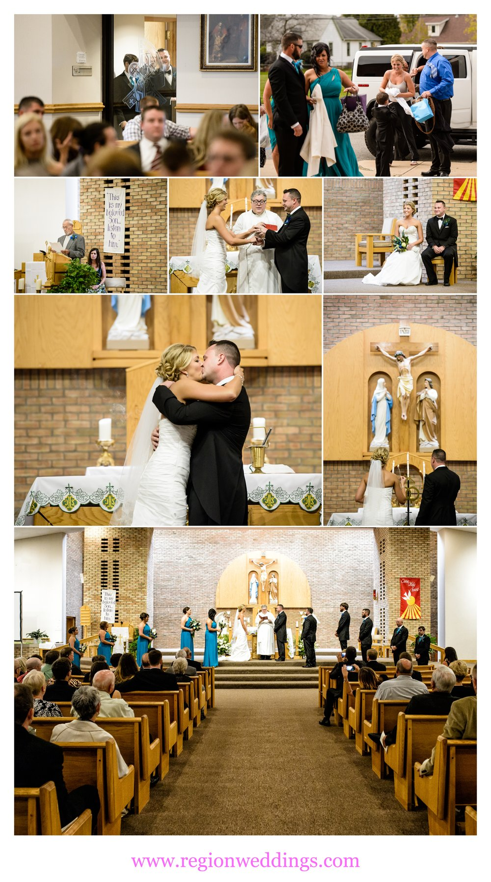 Wedding ceremony at St. Patrick Catholic Church in Chesterton, Indiana.
