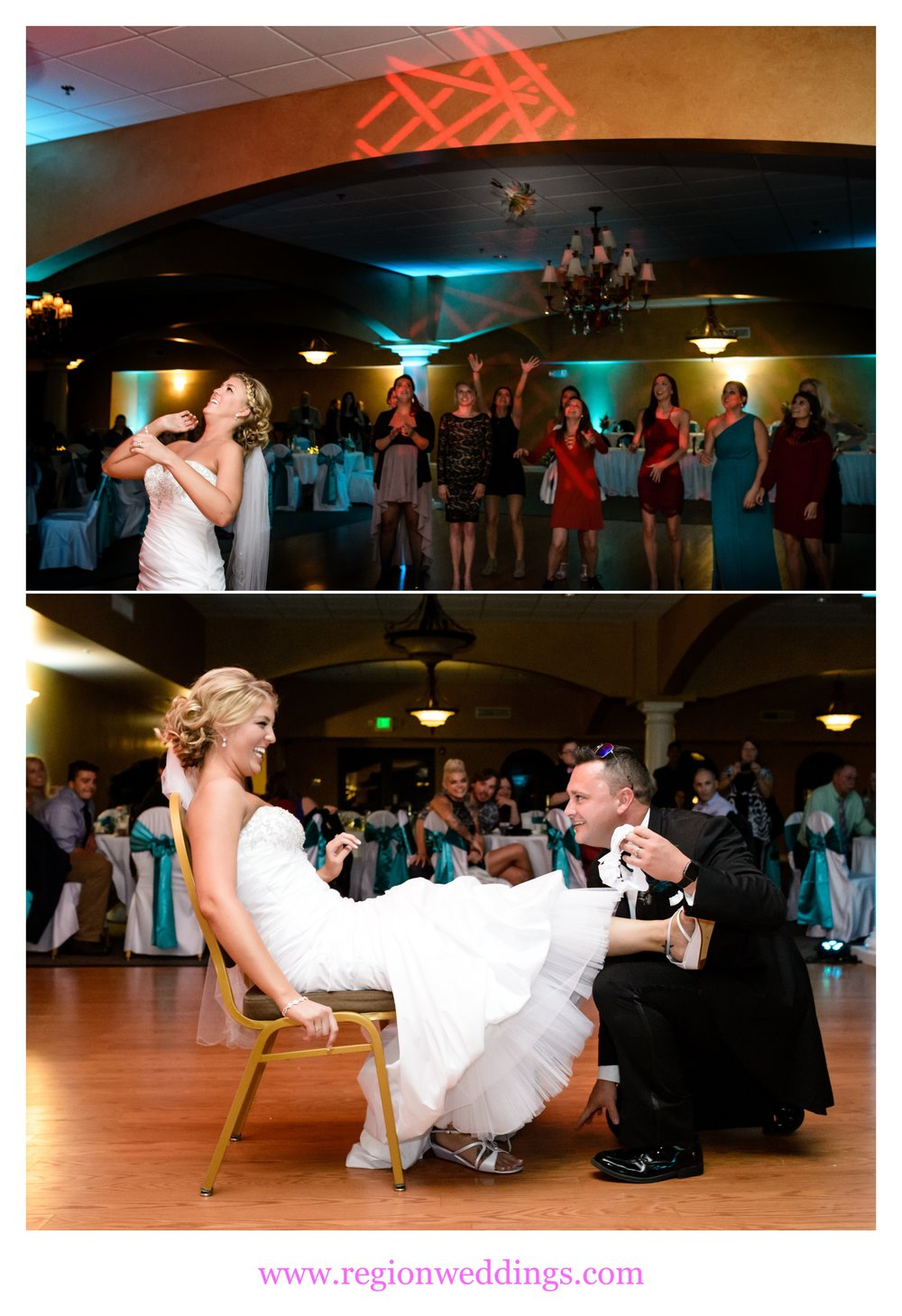 Bouquet and garter toss at Trinity Hall in Chesterton, Indiana.