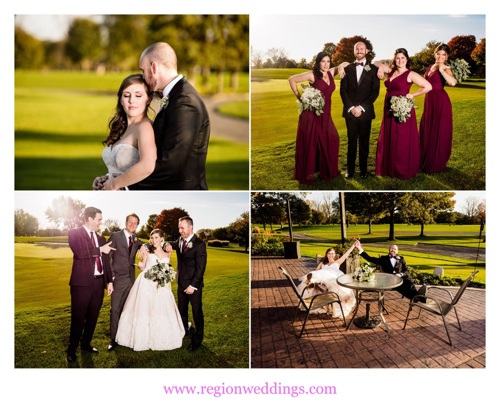 Wedding party photos at Briar Ridge Country Club in Dyer, Indiana.