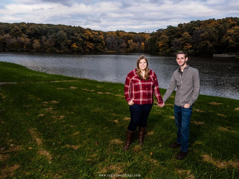 An Autumn engagement photo at Lemon Lake County Park.