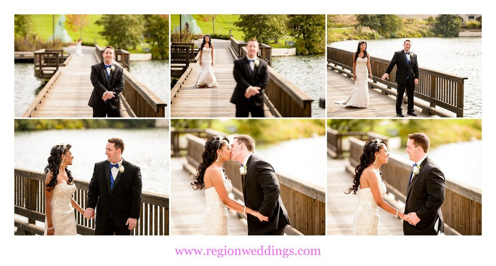 First look for the bride and groom on the Centennial Park bridge.