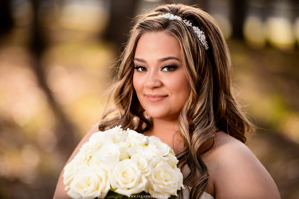 Bridal portrait with Fall color at Lake County Fairgrounds.