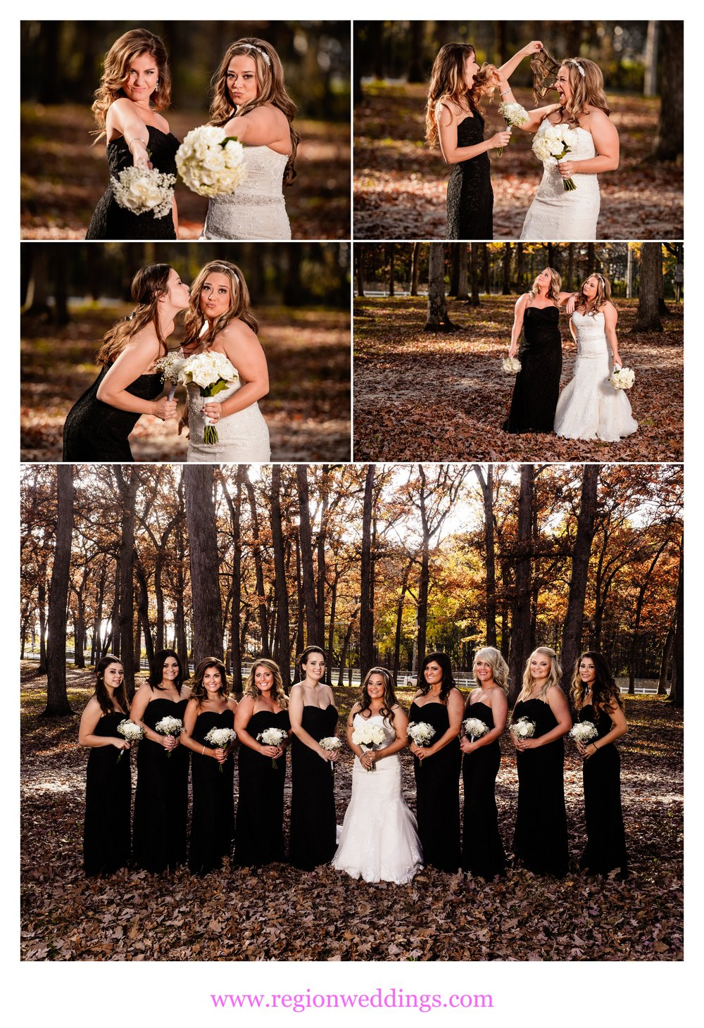 Bridesmaids photos at Lake County Fairgrounds in Crown Point, Indiana.