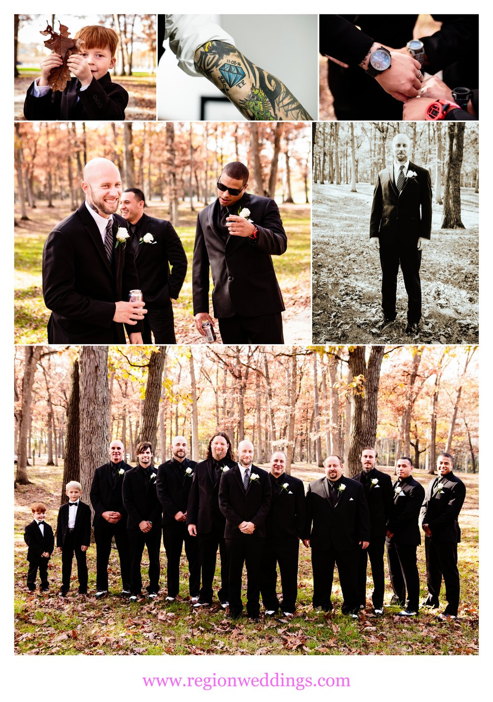 Groom and his groomsmen at Lake County Fairgrounds.