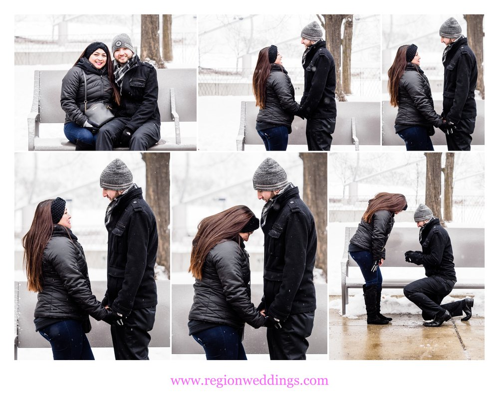 A surprise marriage proposal at Millennium Park in Chicago during a snow storm.