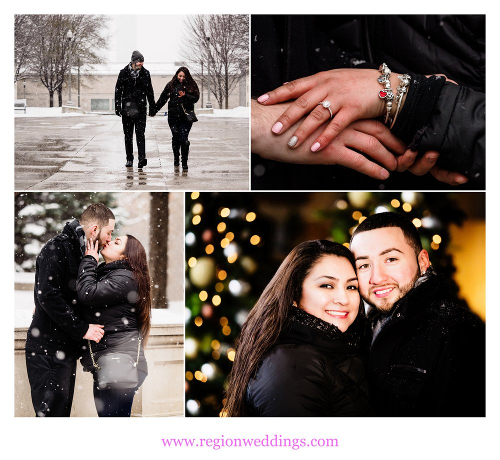 A newly engaged couple in Chicago during a December snow storm.