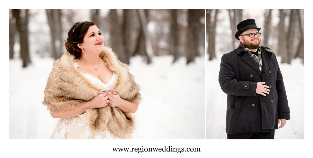 Winter portraits of the bride and groom.