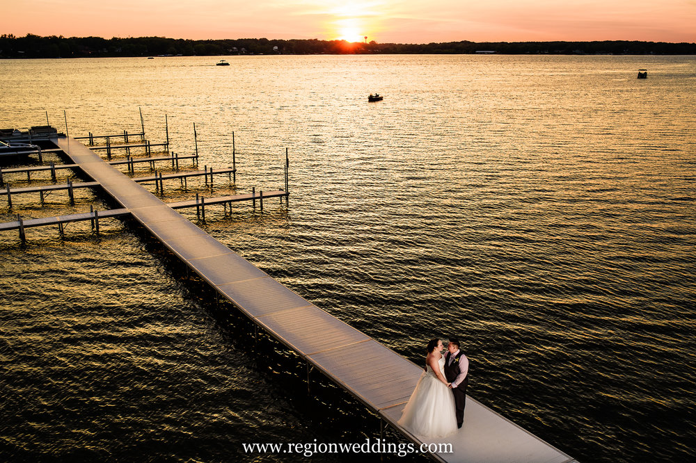 Sunset wedding photo at Lighthouse Restaurant.