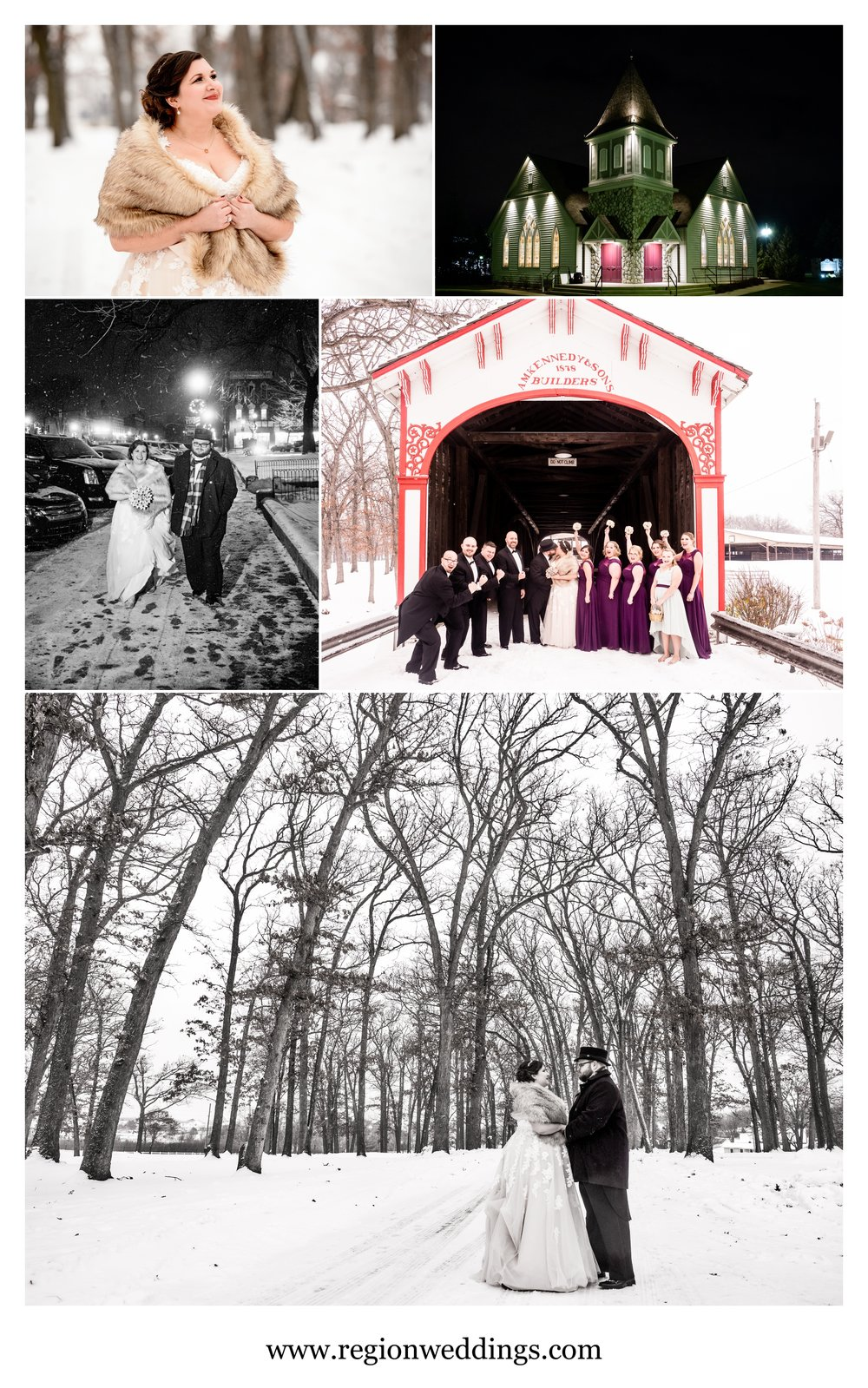 Northwest Indiana winter wedding photos in 2016.