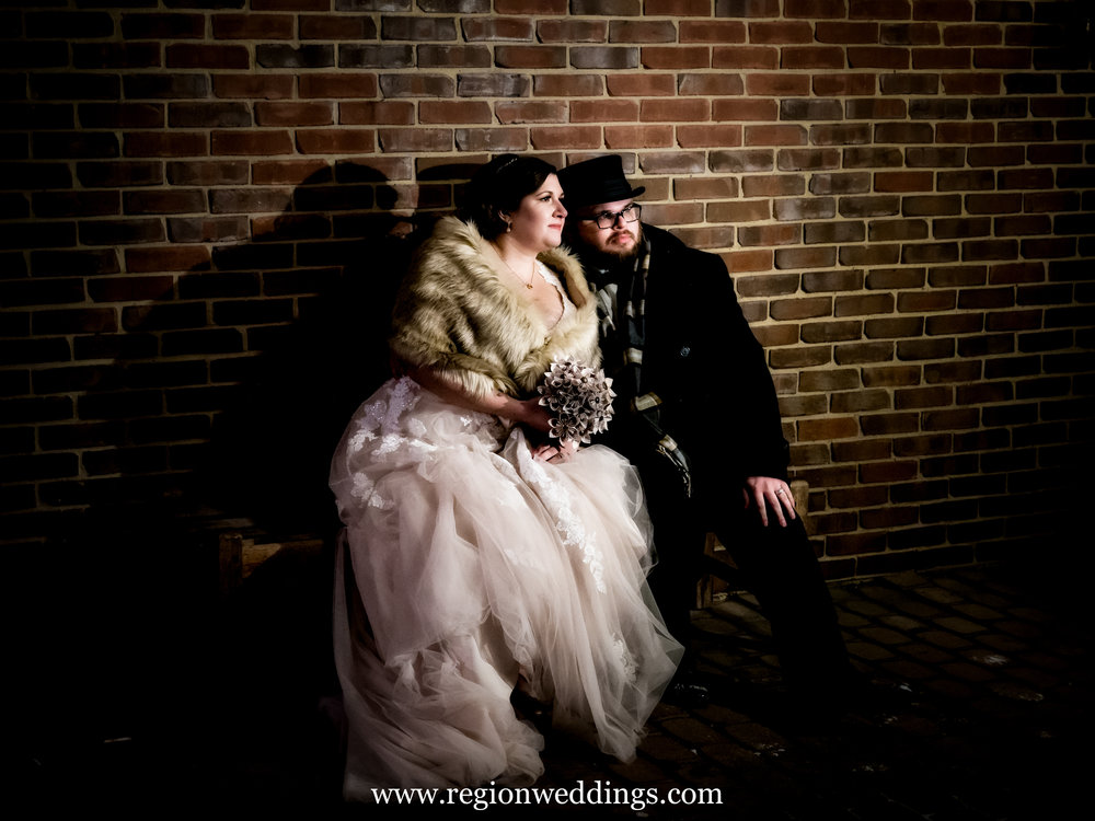 A winter wedding photo at Cloister In The Woods in Munster, Indiana.