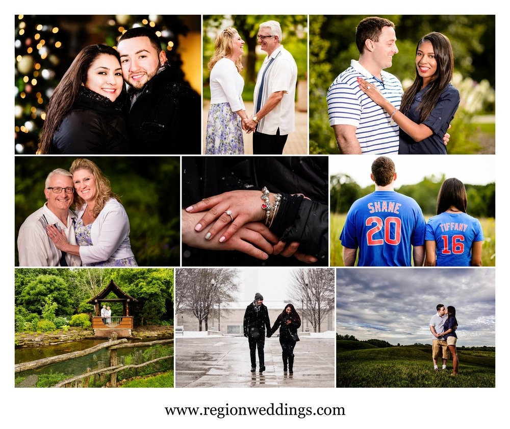 Engagement photos in Northwest Indiana and Chicago in 2016.