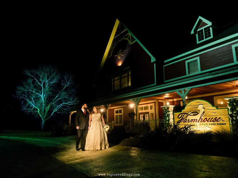 Evening stroll for the bride and groom at Fair Oaks Farmhouse.