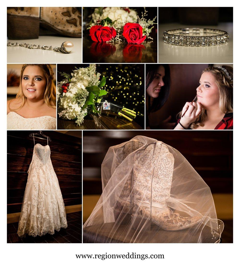 Bridal prep for a wedding at Fair Oaks Farmhouse.