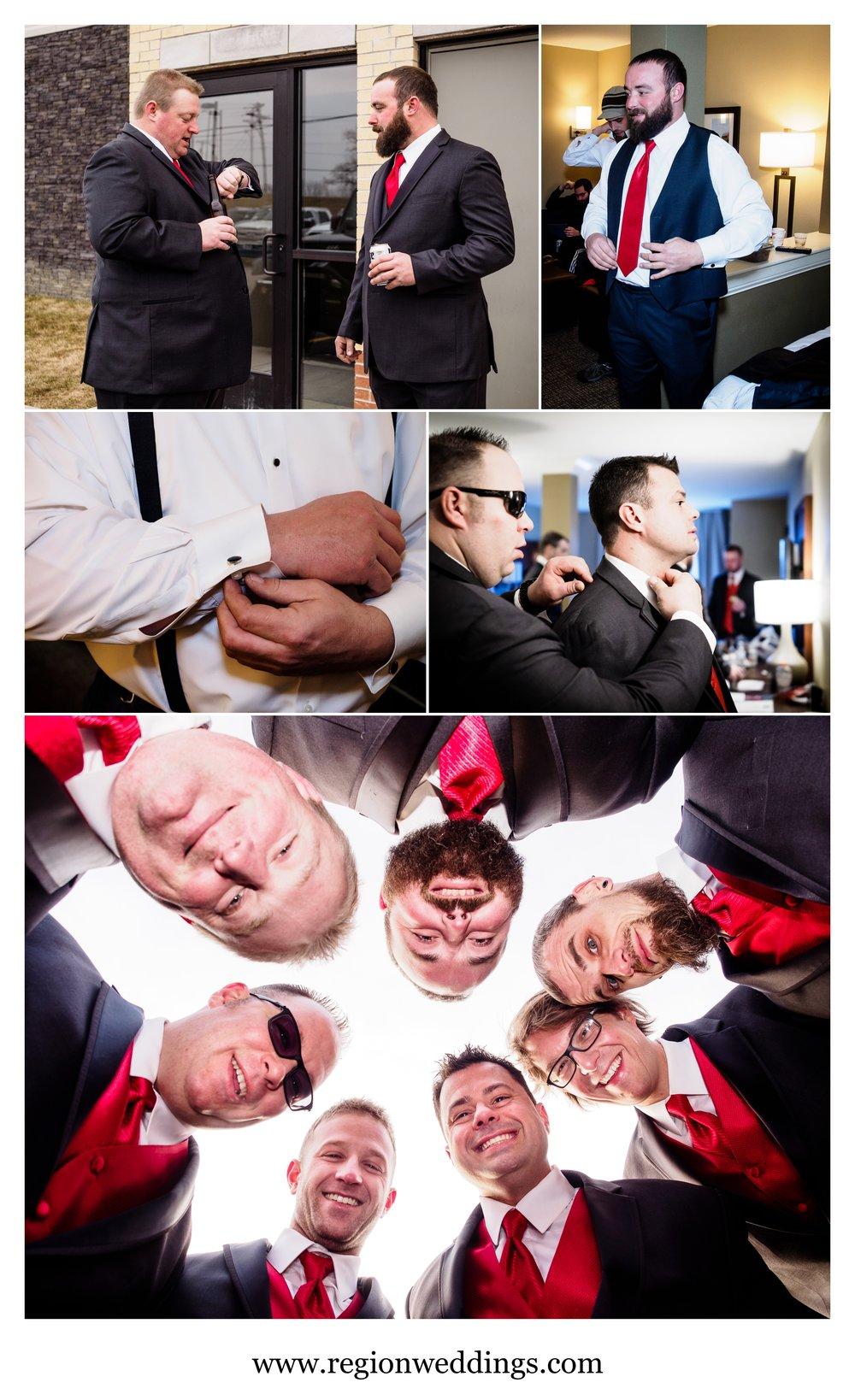 The groomsmen prep for the big day at Fair Oaks Farmhouse.