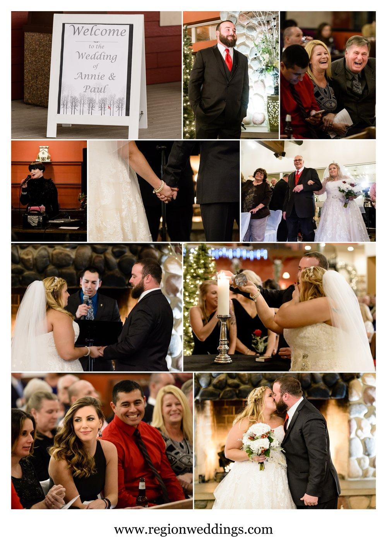 Indoor wedding ceremony at Fair Oaks Farmhouse.