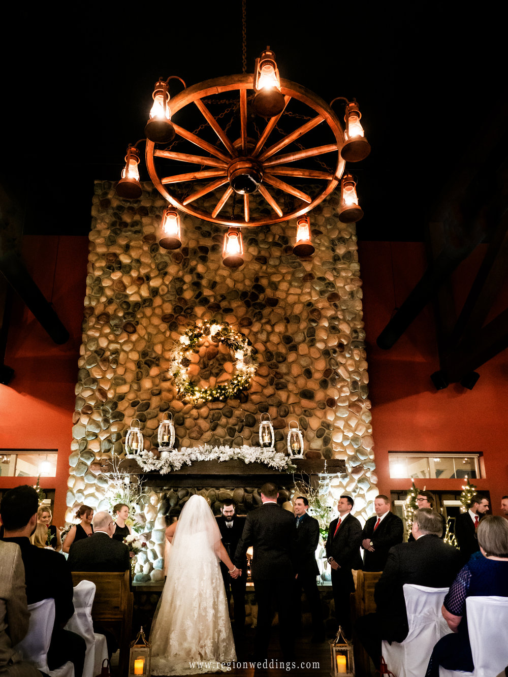 Winter wedding ceremony at Fair Oaks Farmhouse.