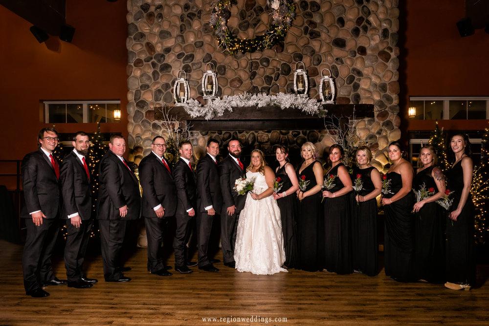 Wedding party group photo at Fair Oaks Farmhouse.