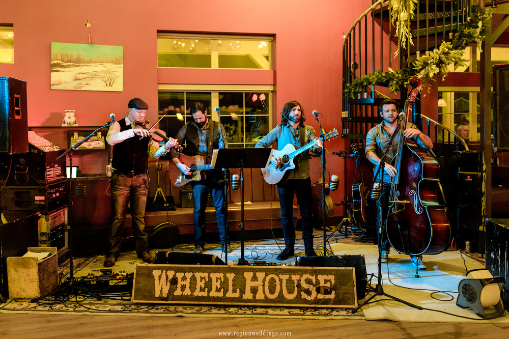 The WheelHouse Band on stage during a wedding.