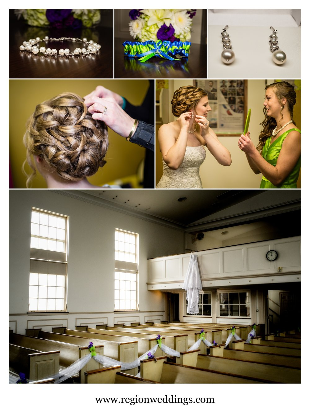 Bridal prep at Oak Glen United Reformed Church.