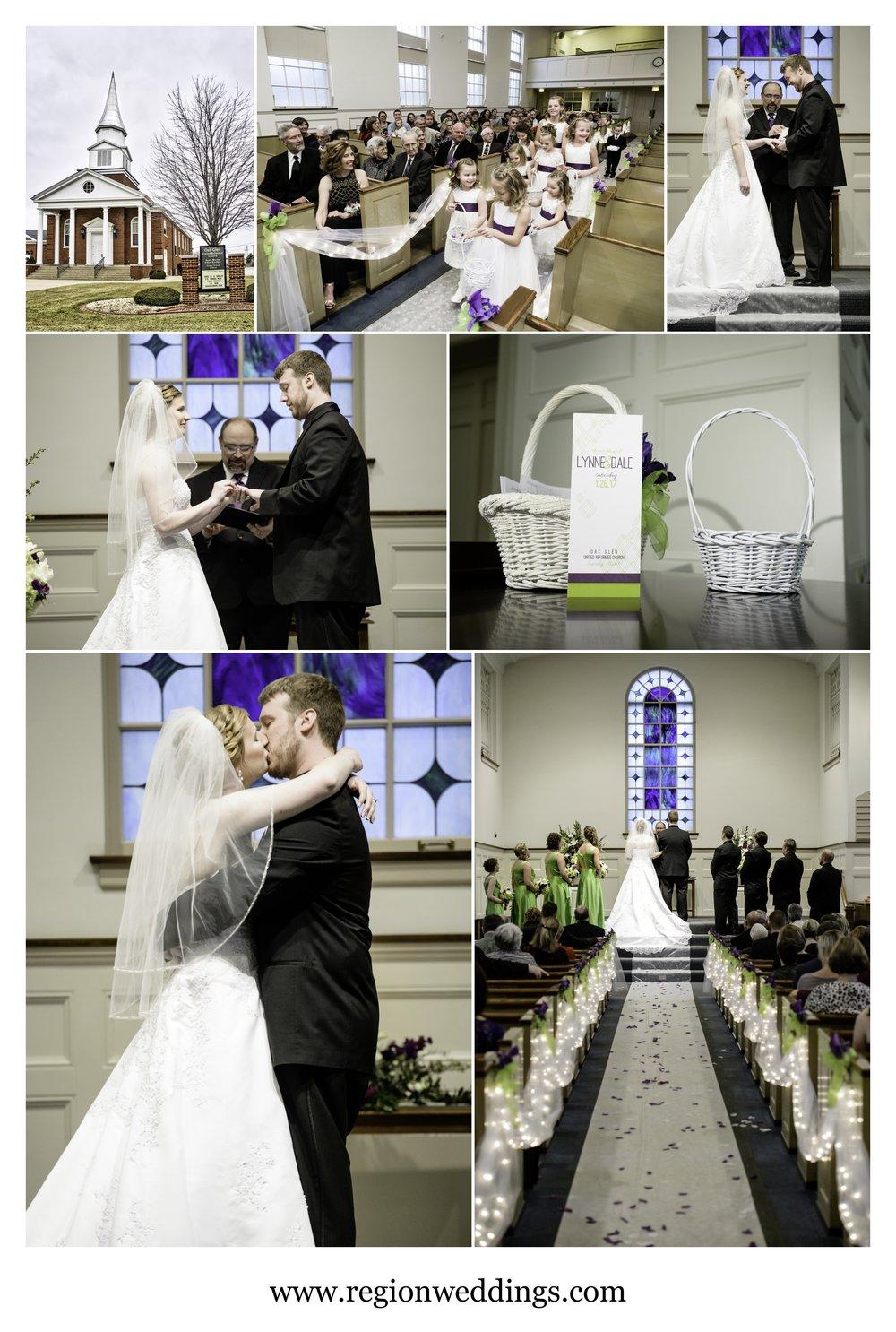 Wedding ceremony at Oak Glen United Reformed Church.