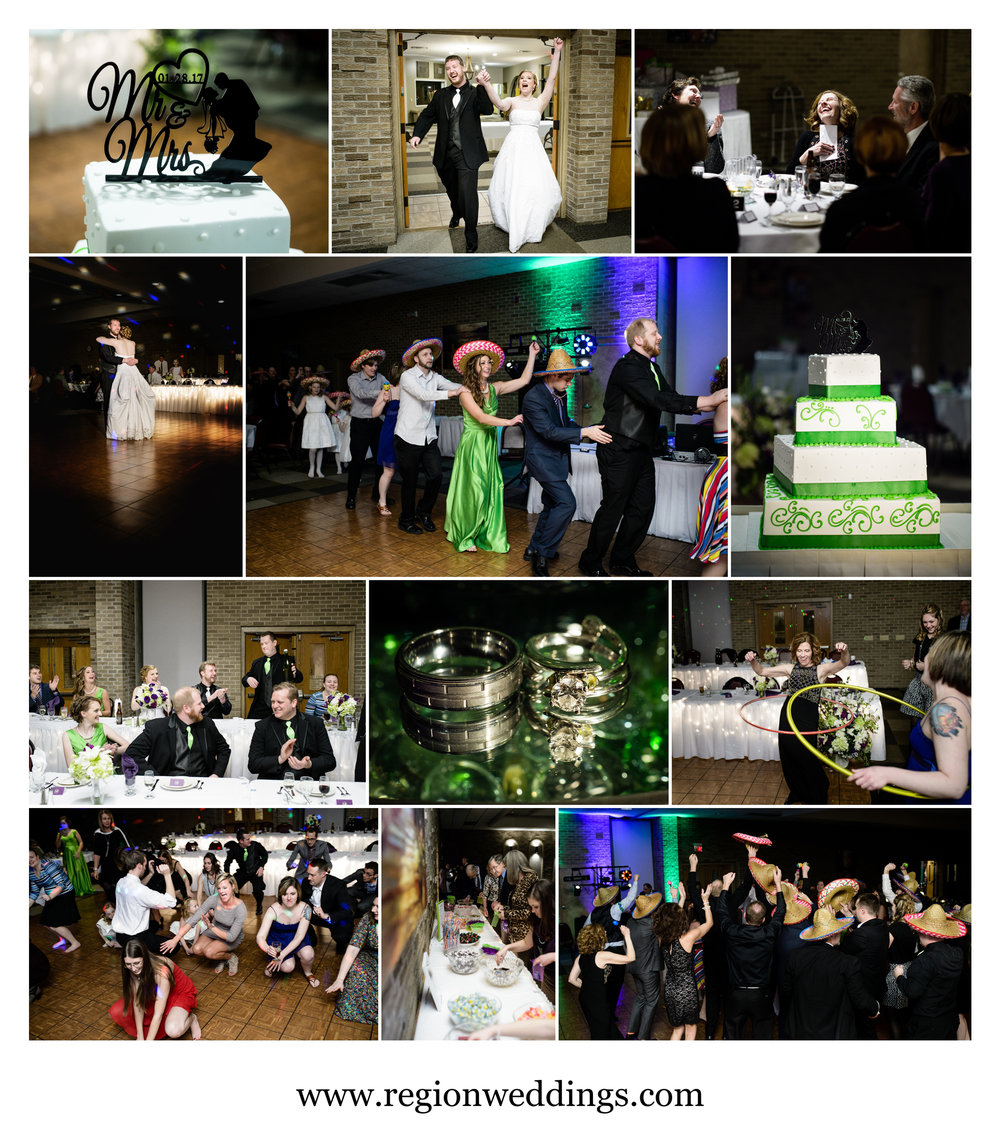 Winter wedding reception at Casa Maria Banquet Hall.