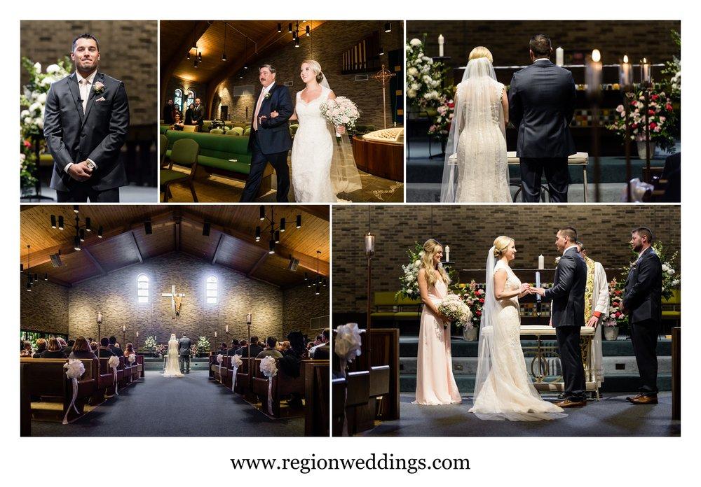 Winter wedding ceremony at St. Maria Goretti Church.