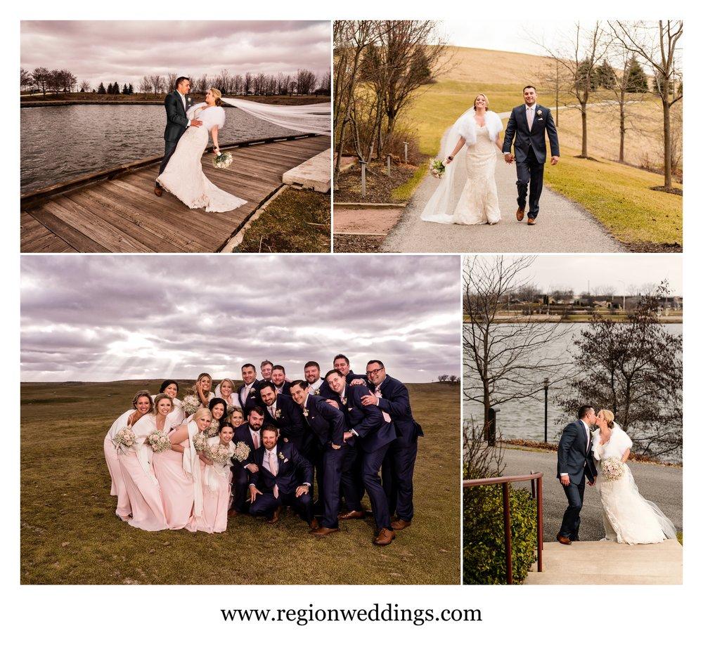 Winter wedding photos at Centennial Park.