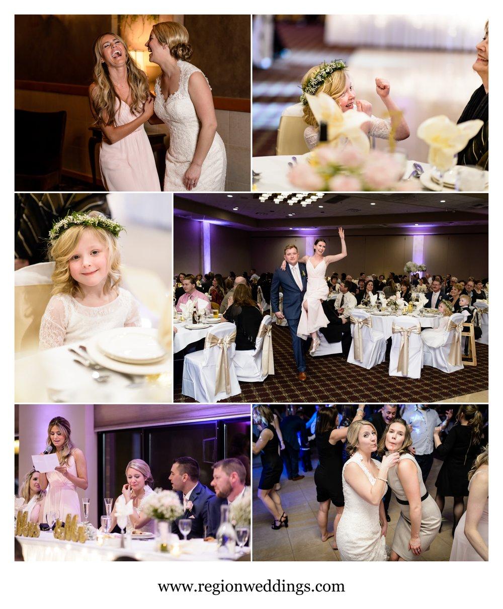 Fun and emotional moments at a Villa Cesare wedding reception.