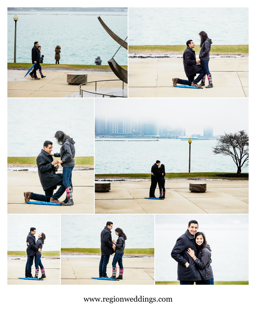 Surprise proposal at Adler Planetarium in Chicago.