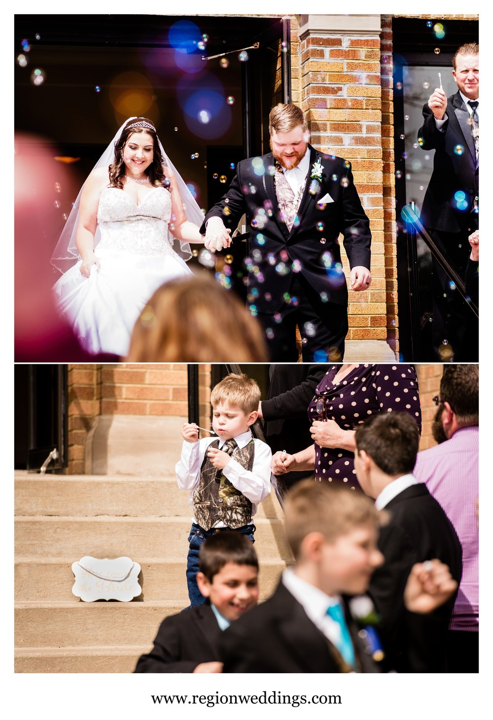 A bubble exit for the bride and groom at Holy Name Catholic Church in Cedar Lake.
