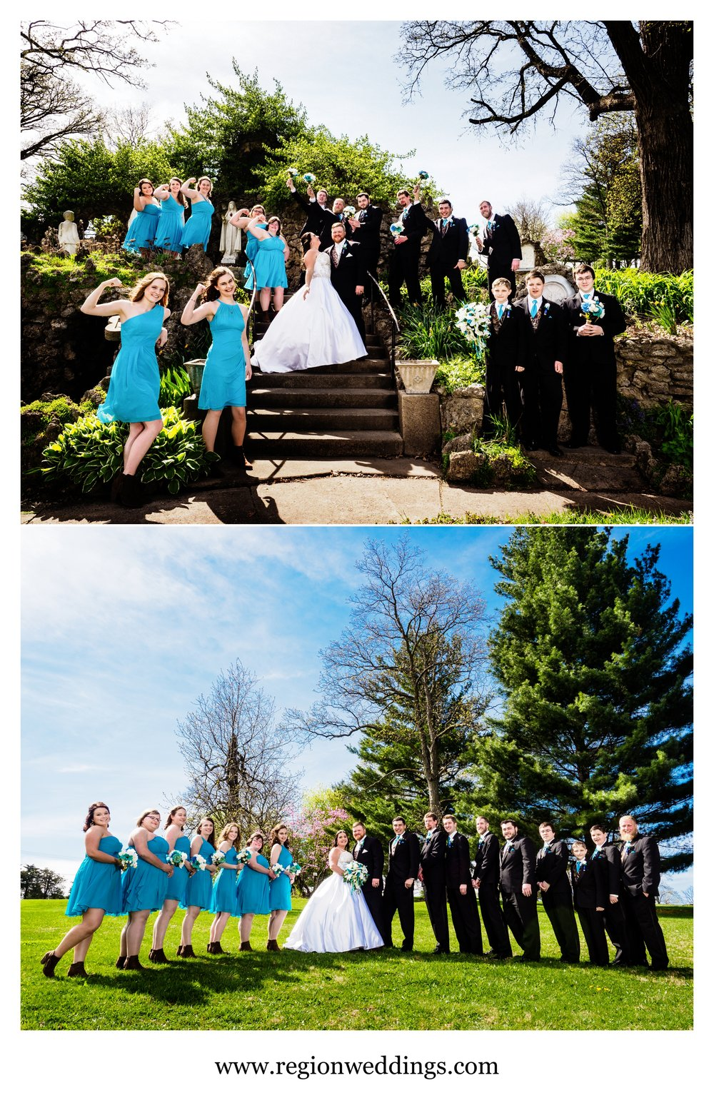 Wedding party group photos in Cedar Lake, Indiana.