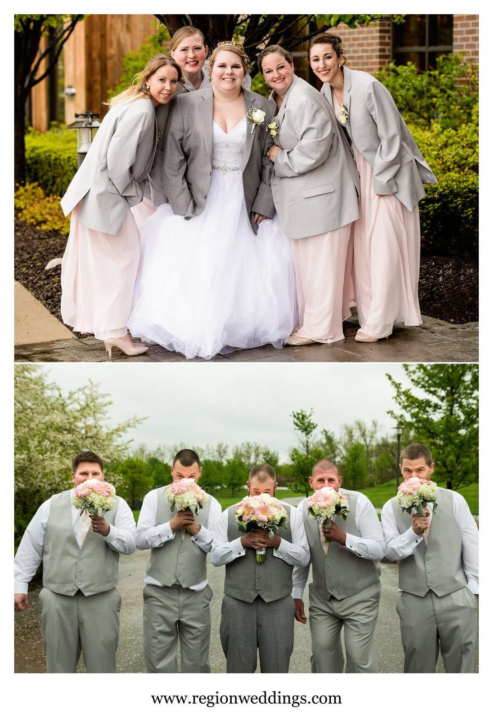 Fun wedding party photos at Centennial Park.
