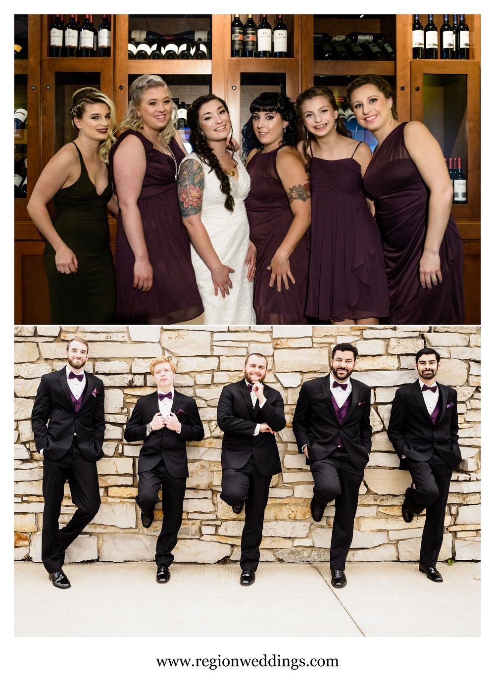 Bridesmaids and groomsmen on wedding day.
