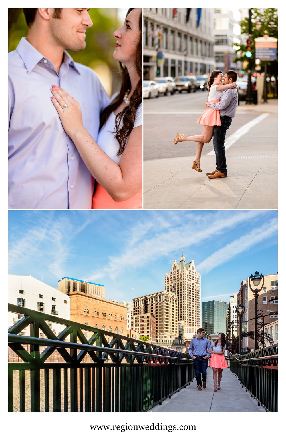 Engagement photos along the Milwaukee Riverwalk.