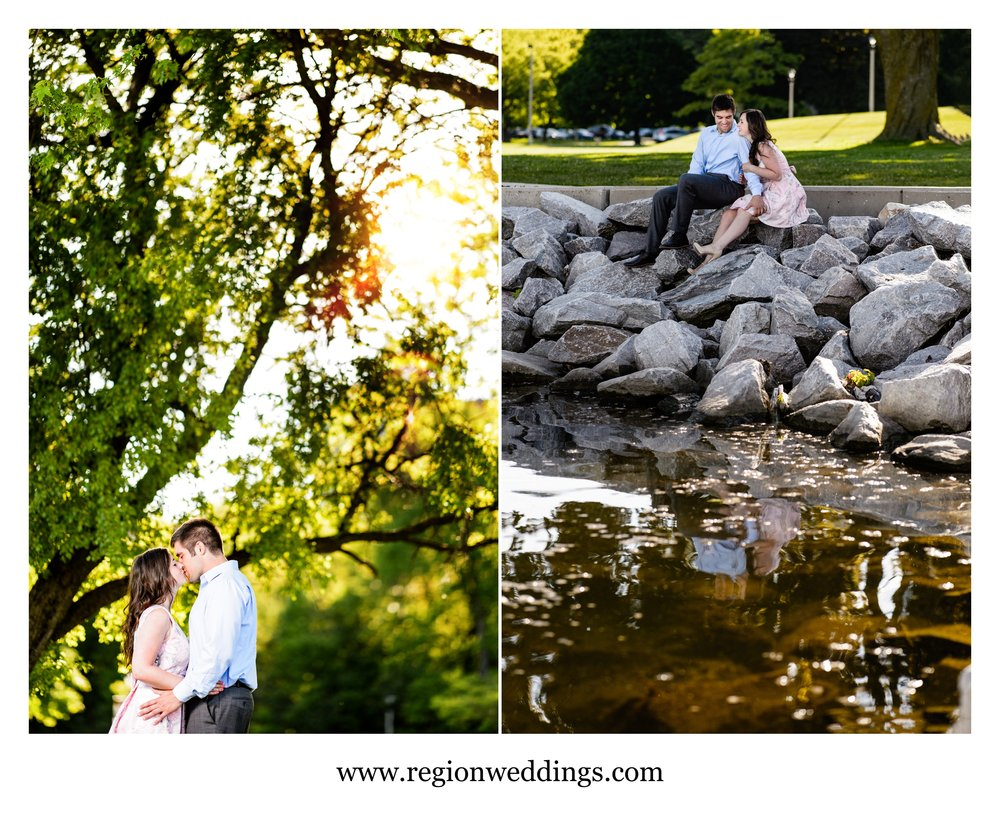 Romantic engagement photos at McKinley Marina in Milwaukee.