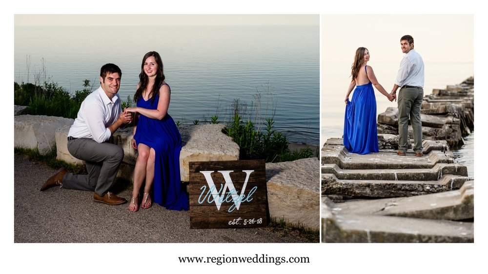 Engagement photos at Atwater Beach in Milwaukee, Wisconsin.