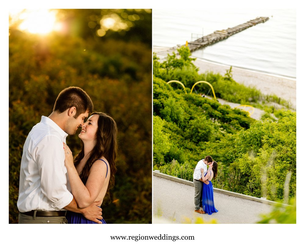 Romantic engagement photos along the hills at Atwater Beach.