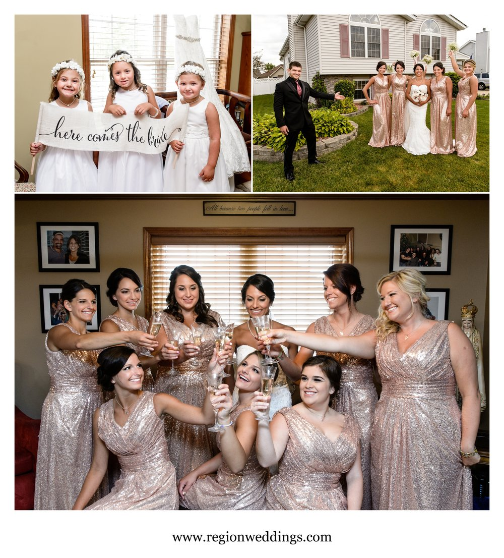 Bridesmaid fun on wedding day.