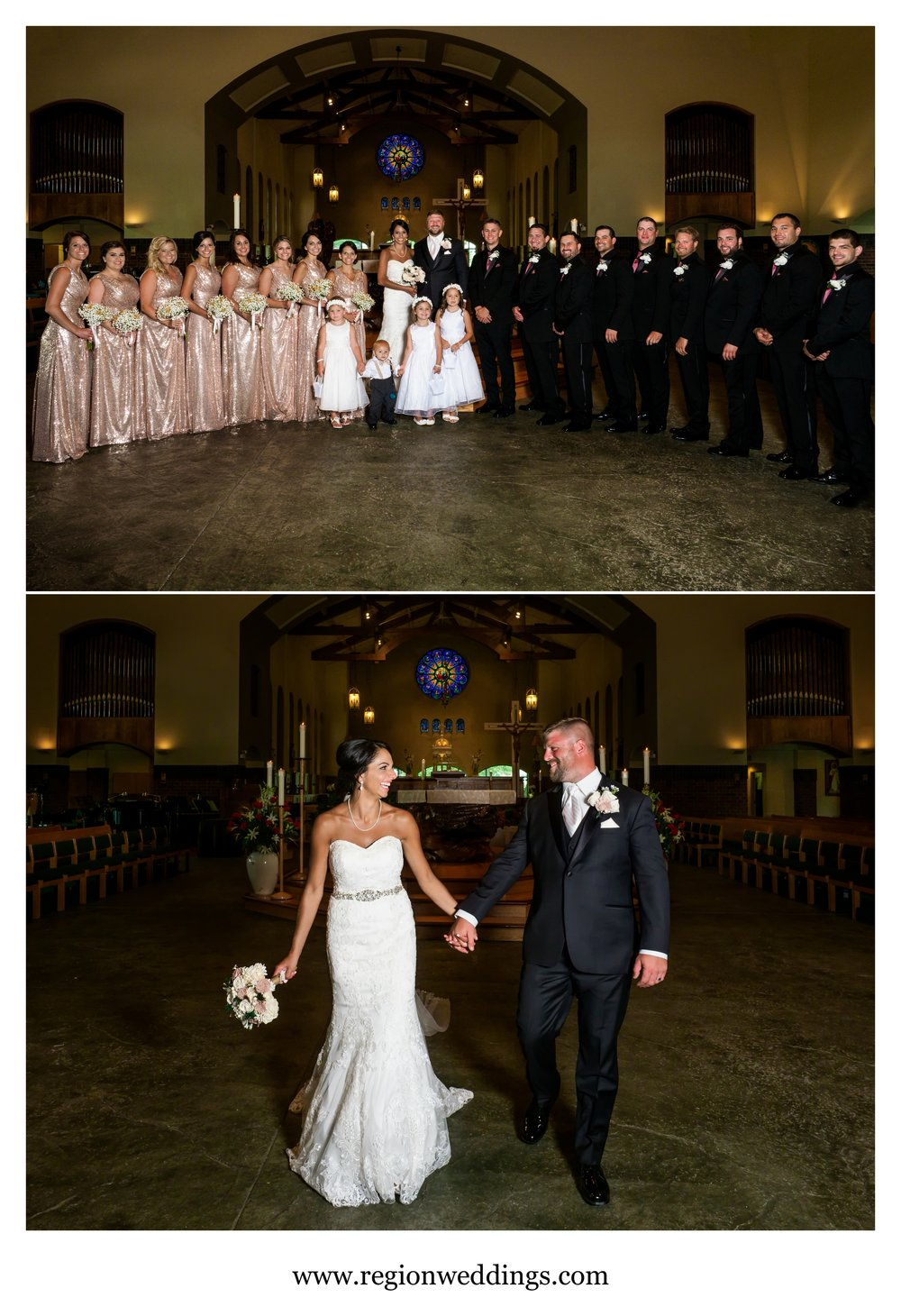 Wedding party photos at St. Michael's Parish in Schererville.
