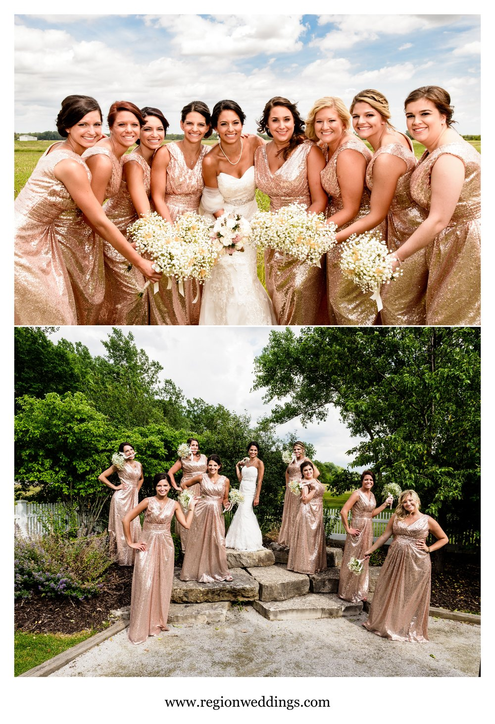 Bridesmaids photos at a June wedding.